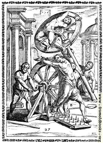 [Picture: 7.---Fastened to a wheel, which is revolved over iron spikes]