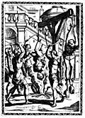 3.Suspended by the thumbs, heavy stones being fastened to the feet; hung up over a slow fire and beaten