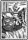 6.—Martyrs bound to the circumference of a great wheel, and rolled down a precipice