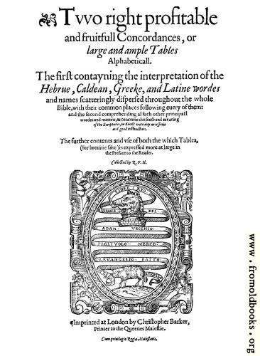 [Picture: Title page for Concordance]