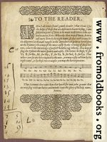 To The Reader: guide to reading early modern music