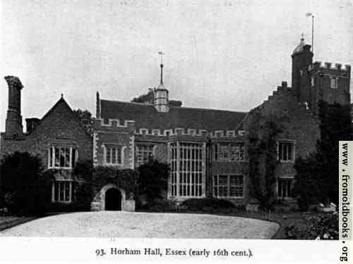 [Picture: Horham Hall, Essex (early 16th Century), front view with driveway and entrance]