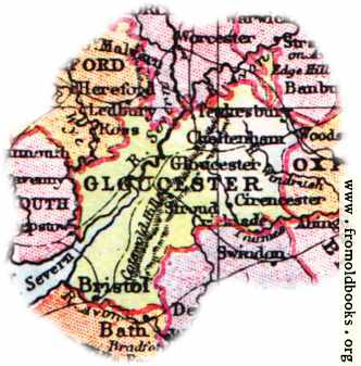 Overview map of Gloucestershire England