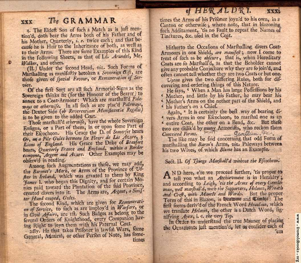 [Picture: Section I. continued; Section II. Of Things Marshall'd without the Escocheon.]