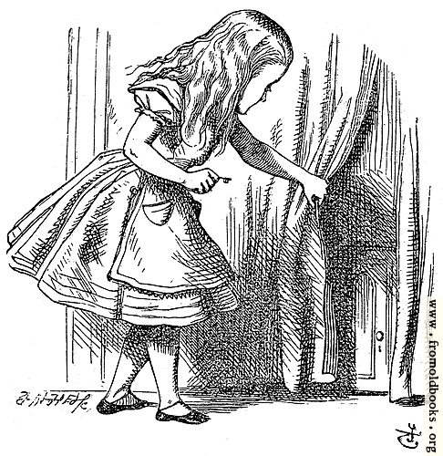 [Picture: Alice Looking for the Door]