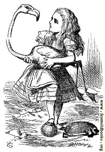 [Picture: Alice trying to play croquet with flamingo and hedgehog]