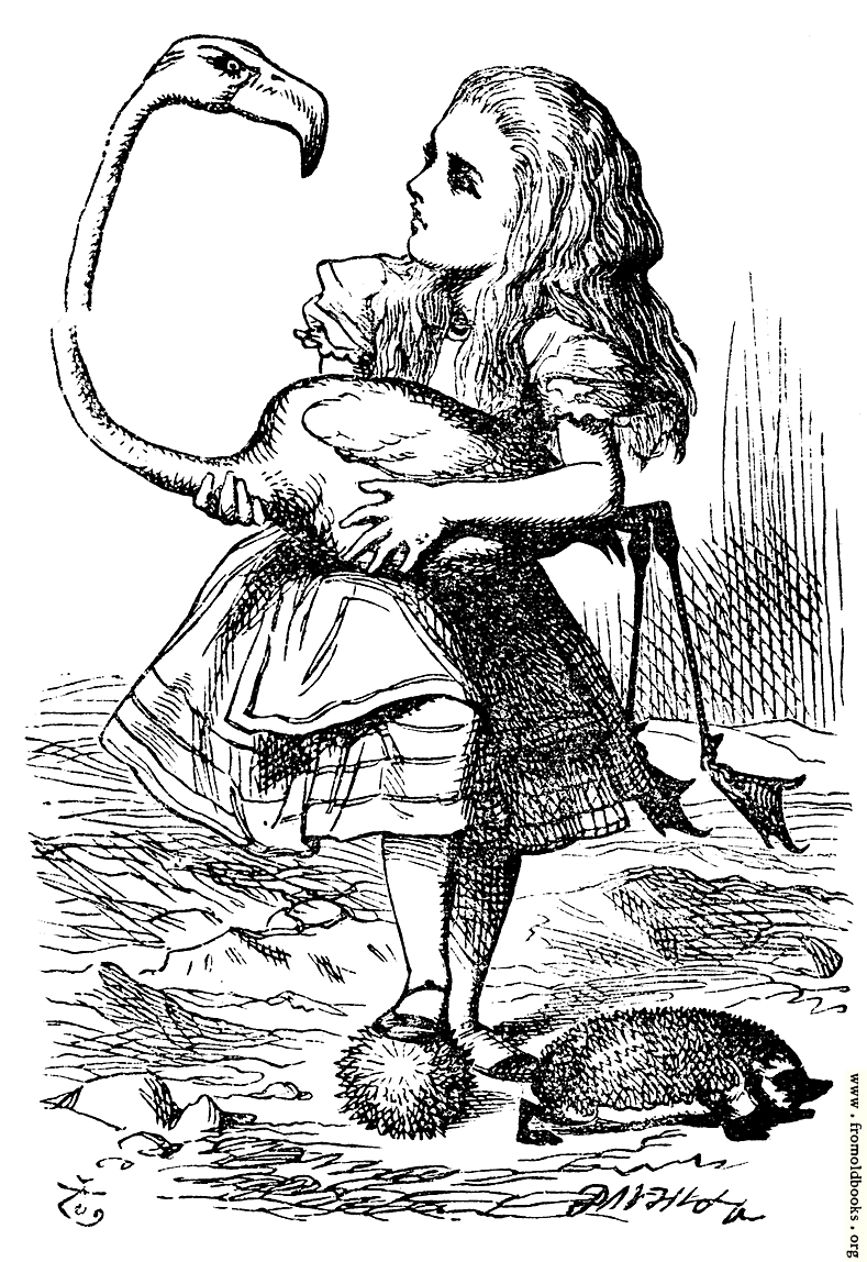 Alice Trying To Play Croquet With Flamingo And Hedgehog