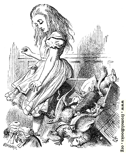 [Picture: Giant Alice upsets the jury (literally)]