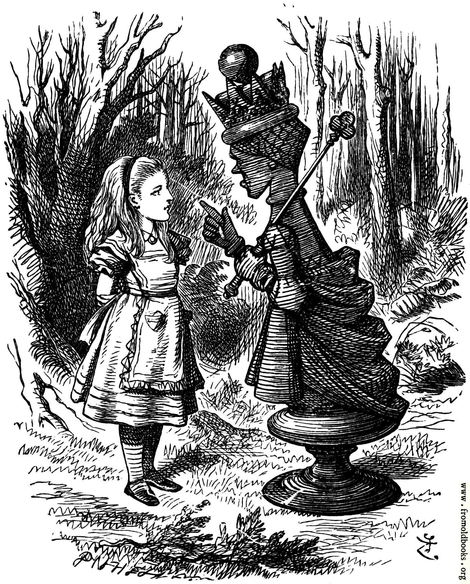 alice red queen tenniel jabberwocky