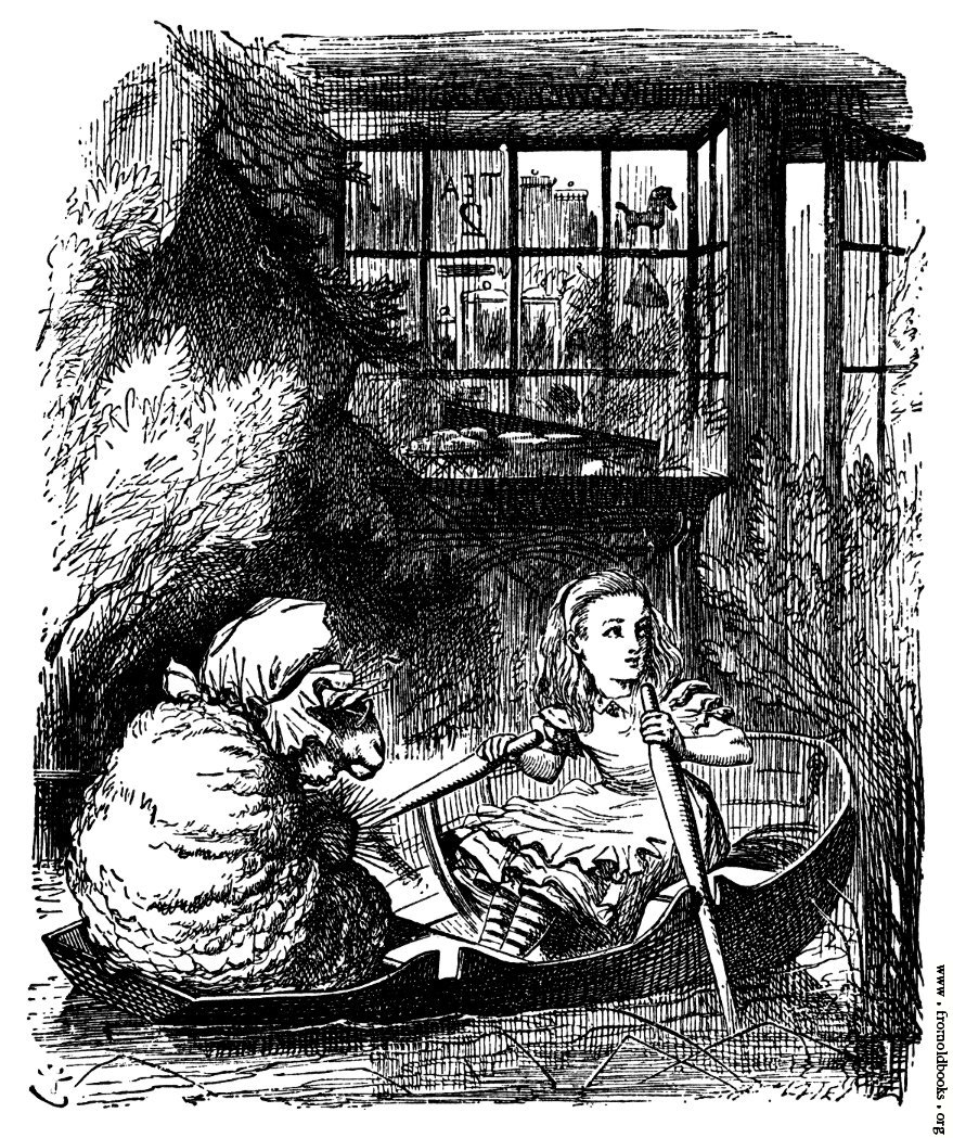 [Picture: Alice and the Sheep in a Rowing Boat]