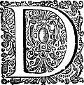 Decorative initial (drop cap) D