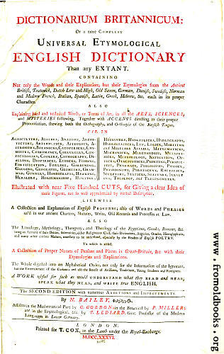 [Picture: Title Page: Bailey's Universal Etymological Dictionary]