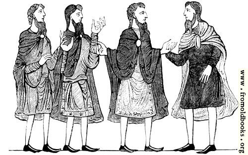 [Picture: 285.---Saxon Cloaks, Plain and Embroidered Tunics, and Shoes. (Cotton MS.)]