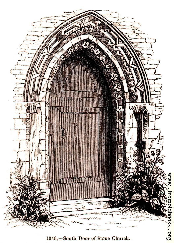 1046 stone church south door for Door of stone