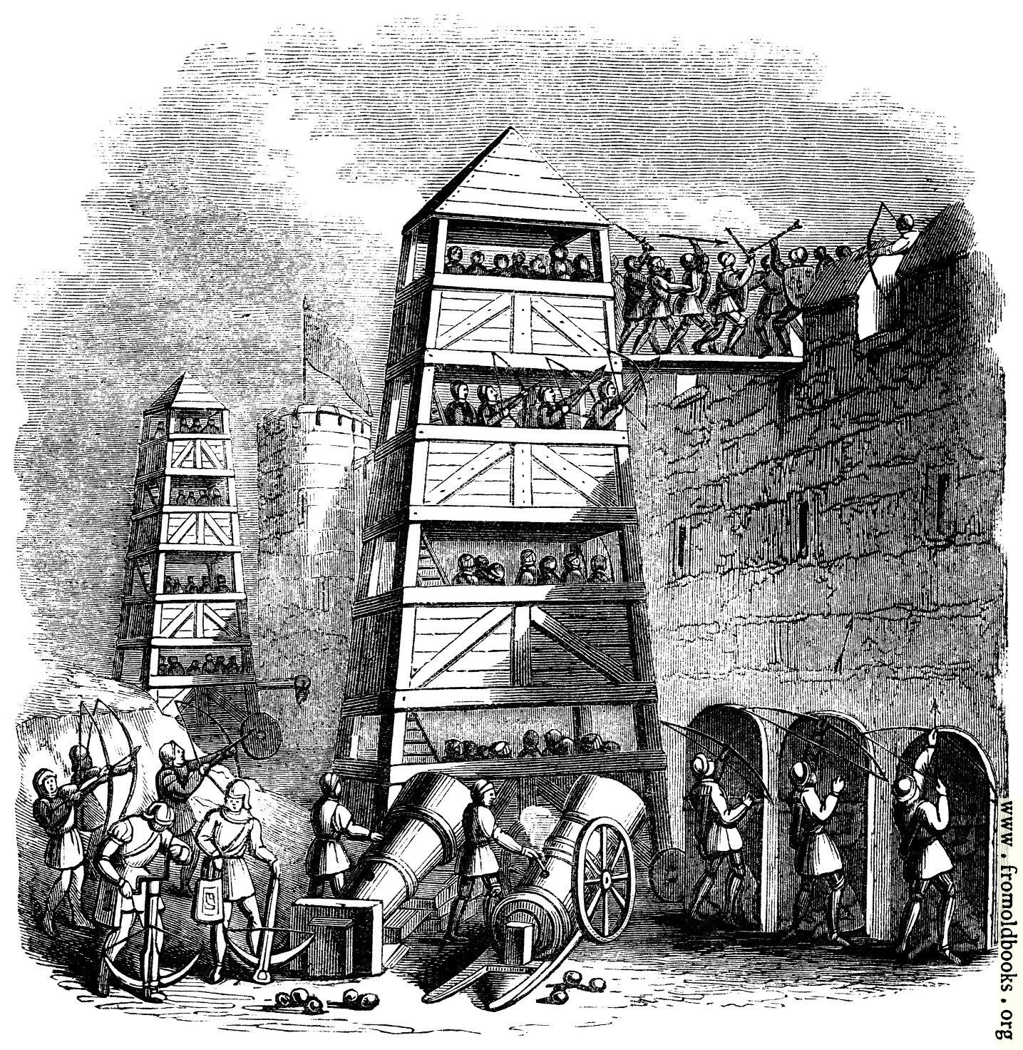 1253.—Breeching Tower; Archers behind their Pavison; Canon ...