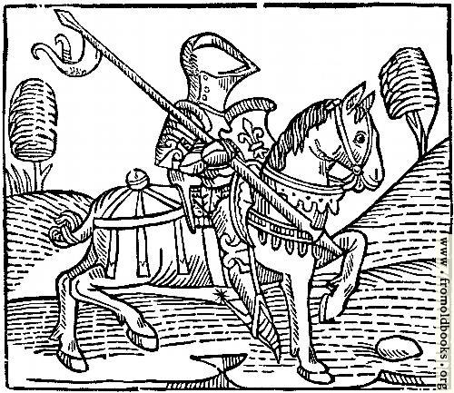 [Picture: 1373.—Wood-cut of a Knight.  (From Caxton's 'Game of the Chess')]