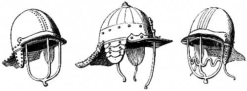 [Picture: 2050.---Helmets, 1645.  (From Specimens at Goodrich Court.)]