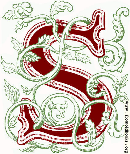 [Picture: Foliated initial capital letter ``S'' (coloured version)]