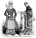 790.Costume of Norman English Ladies in 12th Century.