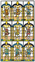 Painted Window. Two Saxon Earls of Mercia, And Seven Norman Earls of Chester.