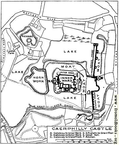 Caerphilly Castle plans, from old books.