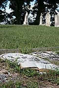 Iron cross and open book on grave