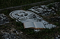 Open poetry book on old grave