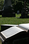 Open book with tombs