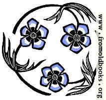 Roundel with stylized blue flowers