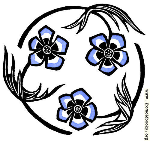 [Picture: Roundel with stylized blue flowers]