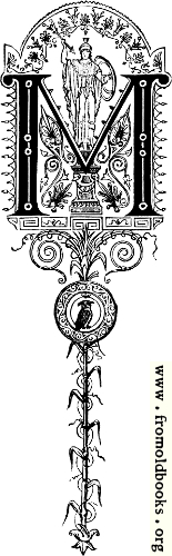 "[Picture: Decorative initial letter ""M""– Roman military standard]"