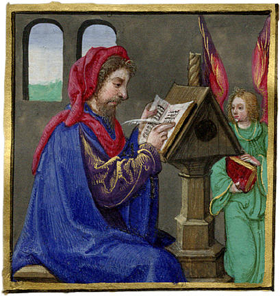 Miniature painting of a scribe writing at a desk [image 409x432 ...