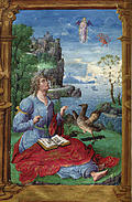 Painted miniature: a writer, with a castle in the background
