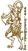Border detail: Satyr or horned devil