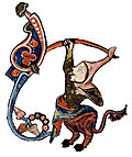 [picture: Drollery (margin-creature), Jester Centaur]
