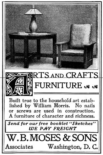 Old Advert: Arts and Crafts Furniture [image 331x500 pixels]