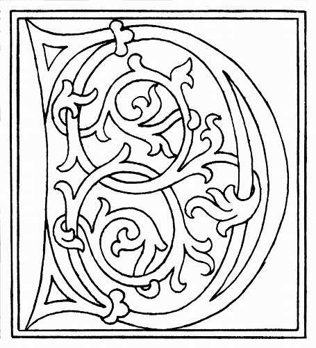 clipart: initial letter D from late 15th century printed bookdetails