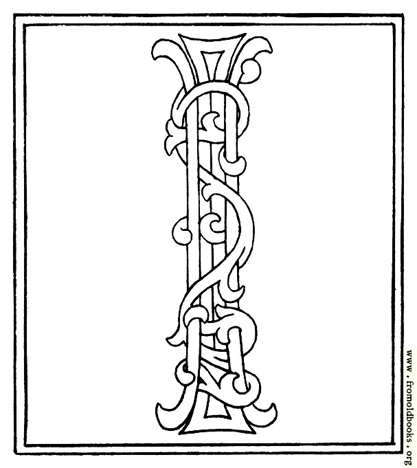 clipart: initial letter I from late 15th century printed book details