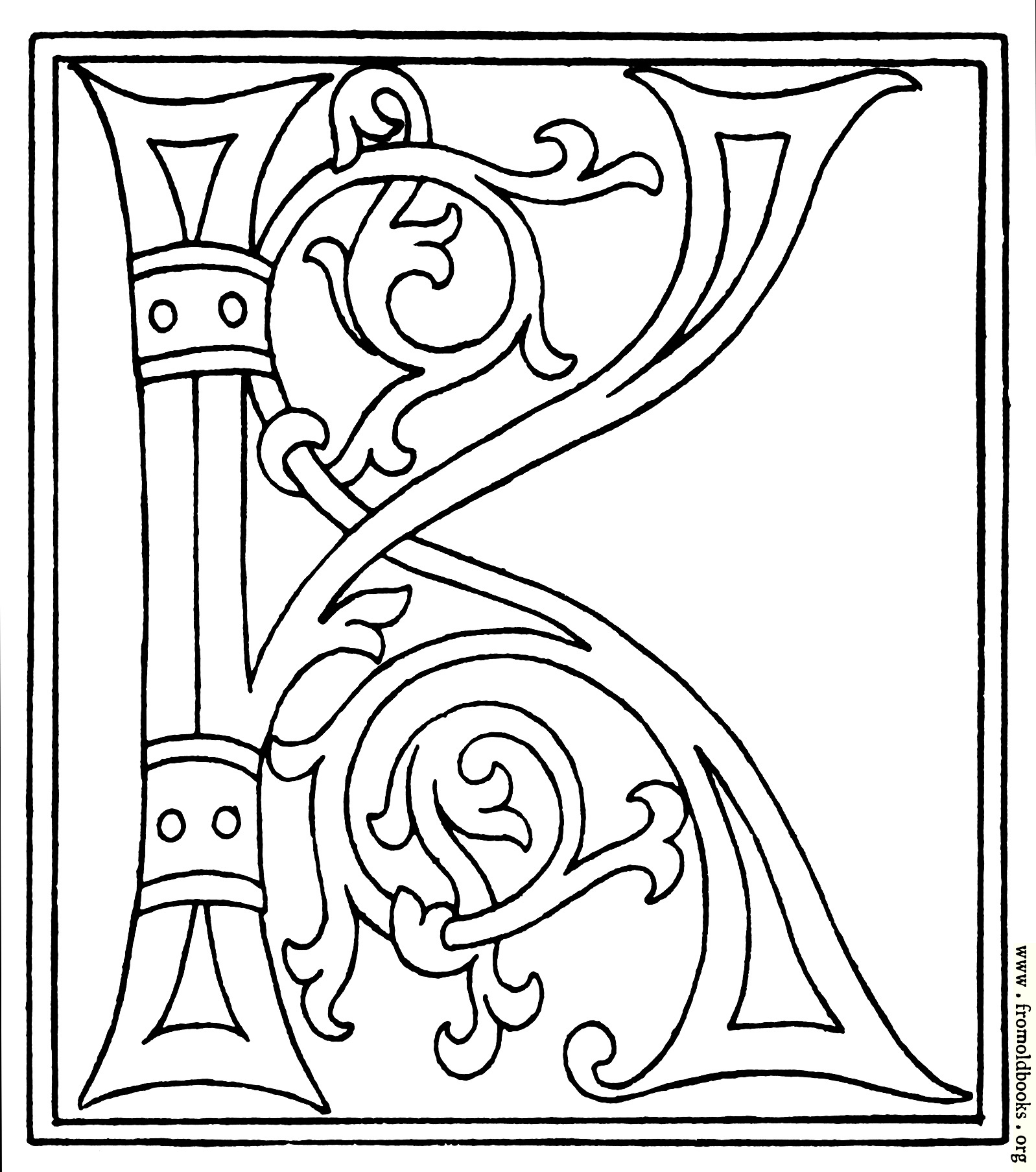 clipart initial letter k from late 15th century printed book