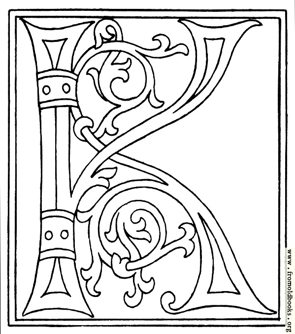 illuminated alphabet coloring pages free - photo#30