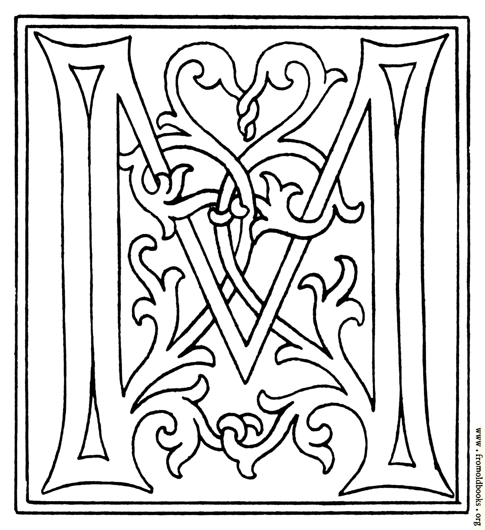 clipart initial letter m from late 15th century printed book