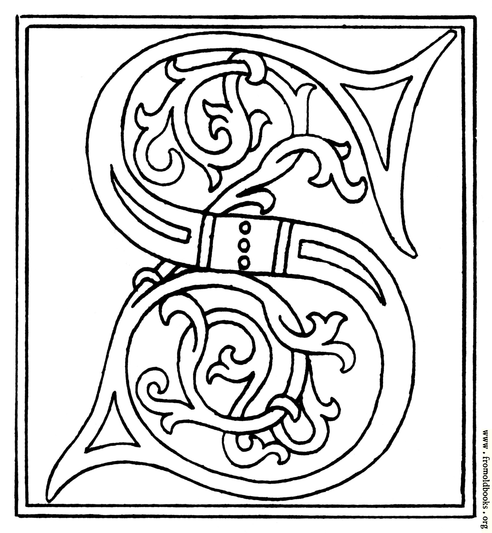 clipart: initial letter S from late 15th century printed book details
