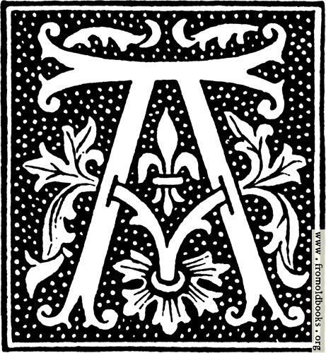 [Picture: clipart: initial letter A from beginning of the 16th Century]
