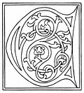 clipart: initial letter C from late 15th century printed book