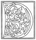 clipart: initial letter D from late 15th century printed book