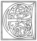clipart: initial letter E from late 15th century printed book