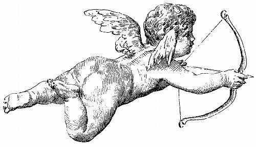 Flying cherub firing an arrow [image 500x287 pixels]