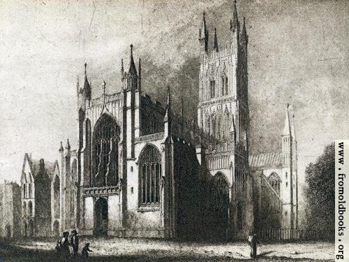 [Picture: Gloucester Cathedral Old Print - Wallpaper Version]