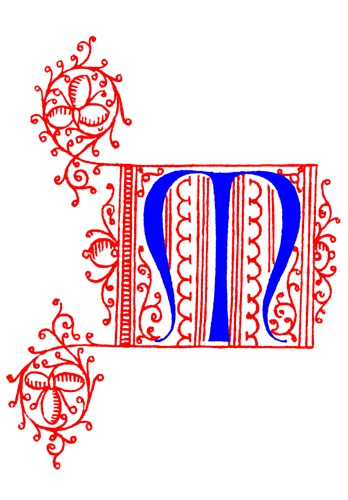 Decorative Uncial Initial Letter M From Fifteenth Century
