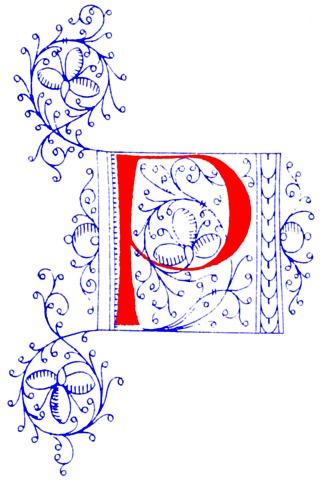 Decorative Initial Letter P From Fifteenth Century Nos  4
